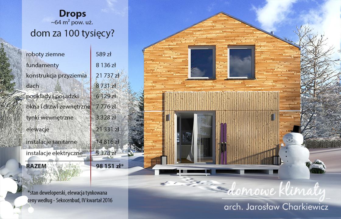 Skrócony kosztorys domu Drops (stan deweloperski)