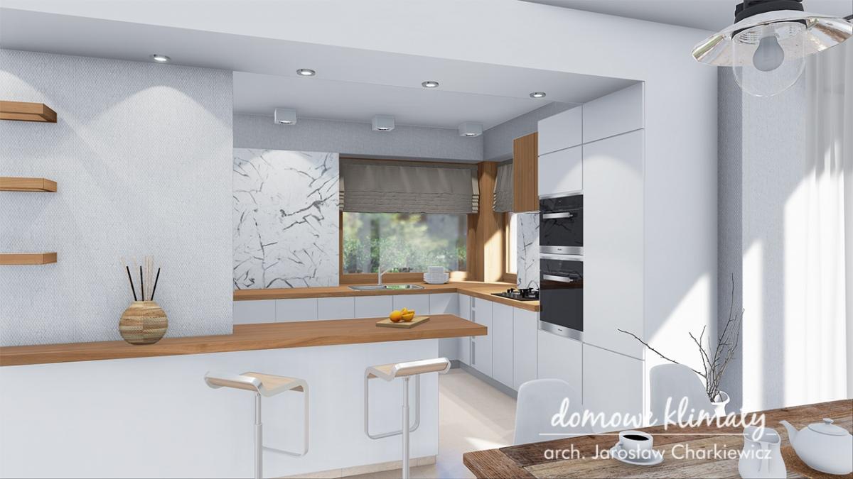 Wizualizacja kuchni w domu Bagatela 4G w wariancie ze spiżarnią