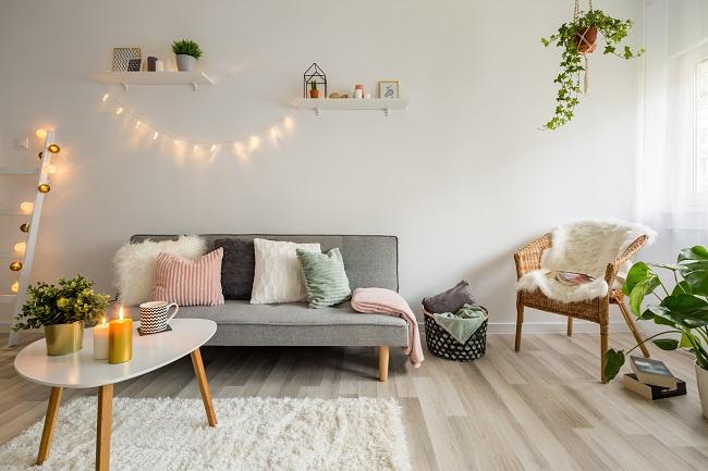 Aranżacja wnętrza w stylu skandynawskim salon
