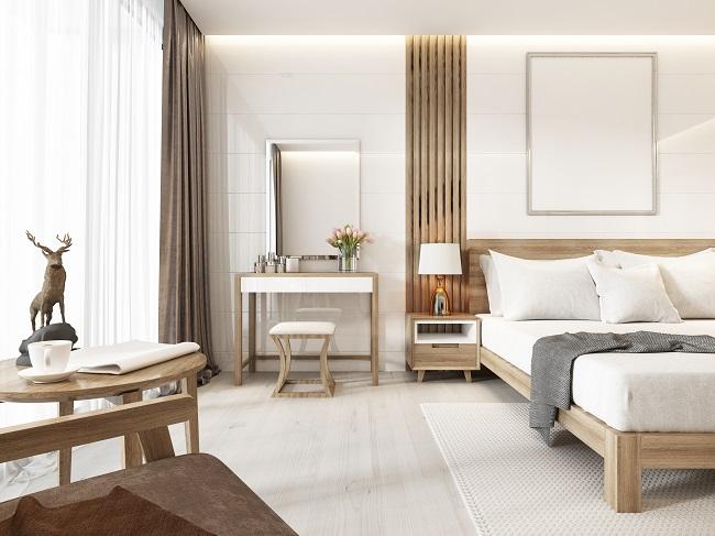 Aranżacja wnętrza w stylu skandynawskim sypialniana część