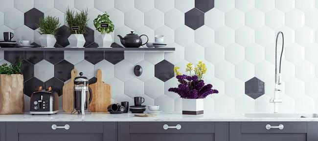 Panoramiczne tło wnętrza nowoczesnej kuchni, renderowania 3d