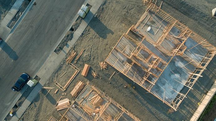 Plac budowy teren z góry z lotu ptaka