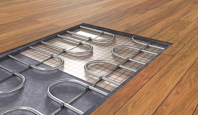 Przekrój podłogi pod ogrzewaniem podłogowym