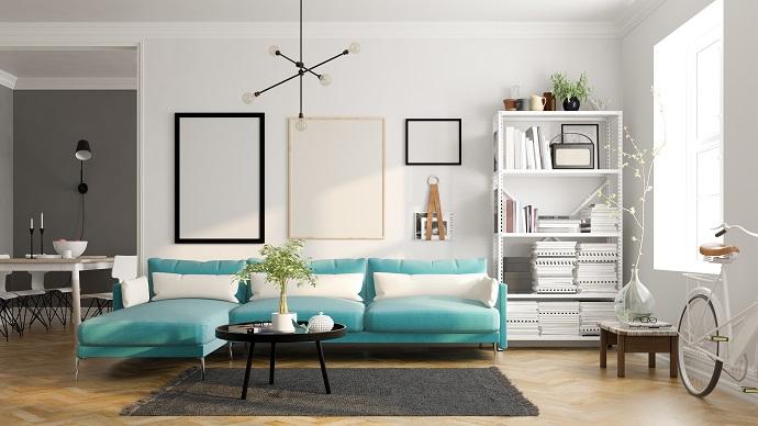 Salon minimalistyczny w stylu skandynawskim