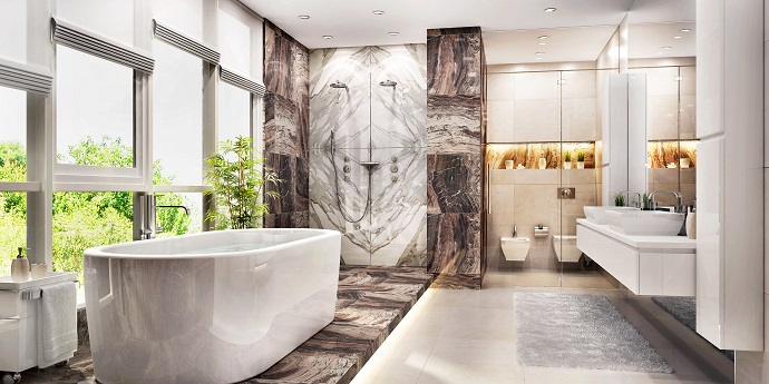spieki kwarcowe w łazience inspiracje