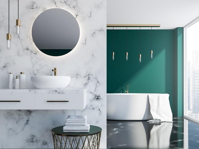 Spieki kwarcowe w nowoczesnej łazience otwartej na sypialnie